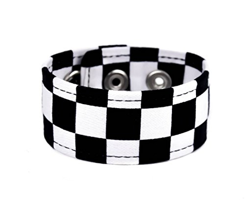 YDS Accessories Black & White Checkered Fabric Wristband Vegan ()