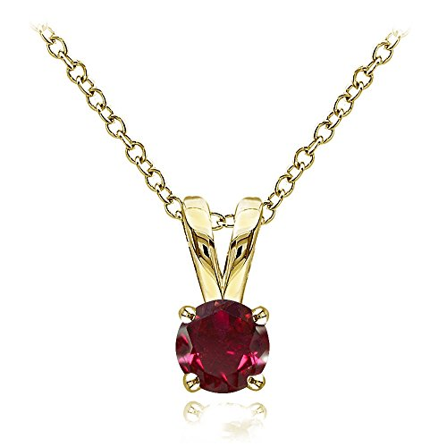 Gold Ruby Solitaire - Yellow Gold Flashed Sterling Silver Created Ruby 5mm Round Solitaire Necklace