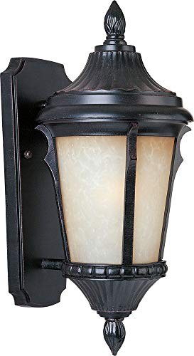 Maxim 3013LTES Odessa Cast 1-Light Outdoor Wall Lantern, Espresso Finish, Latte Glass, MB Incandescent Incandescent Bulb , 40W Max., Dry Safety Rating, 2900K Color Temp, Standard Dimmable, Glass Shade Material, - Pendants Finish Latte
