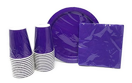 PartyDeiz Paper Dinner Plates, Cups and Napkins (Purple) Party Supplies Pack for 20 Guests. Baby Shower, Happy Birthday, Halloween