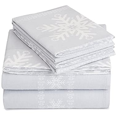 AmazonBasics Printed Lightweight Flannel Sheet Set - King, Snowflake Grey