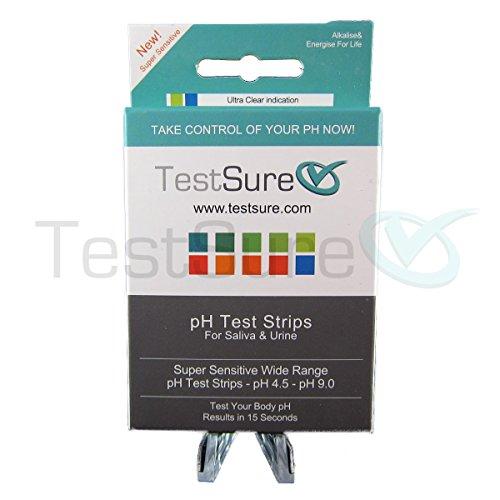 TestSure Box of pH Test Strips for Urine & Saliva - at Home pH Litmus Test Strips (100 per Box) Range 4.5-9.0