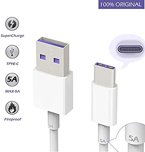 SuperCharge Cable(5A) Huawei USB C Cable Charger Cord Fast Charger for HuaWei Mate 9 Original Mate 9 Pro Mate 10 P10 Plus Honor Note 10,Type C USB ...