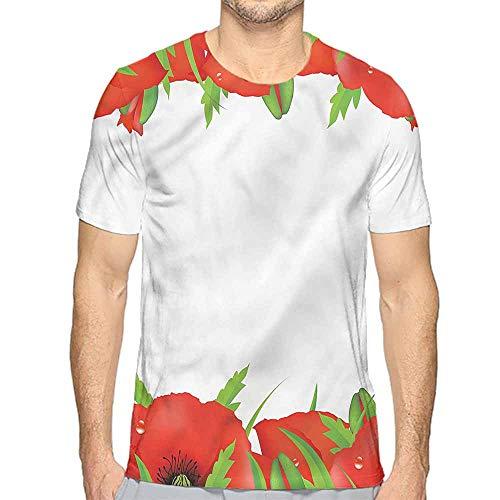 bybyhome t Shirt Poppy,Perennial Bedding Plants Printed t Shirt M