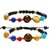 Planet Couples Bracelet Nature Stone Bead Bracelet Set Solar System Bracelet for Women Men Girls