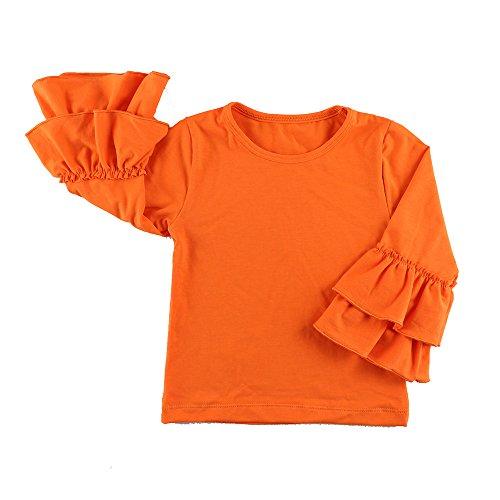 Wennikids Little Girls' Long-Sleeve Ruffle T-Shirt Medium Orange