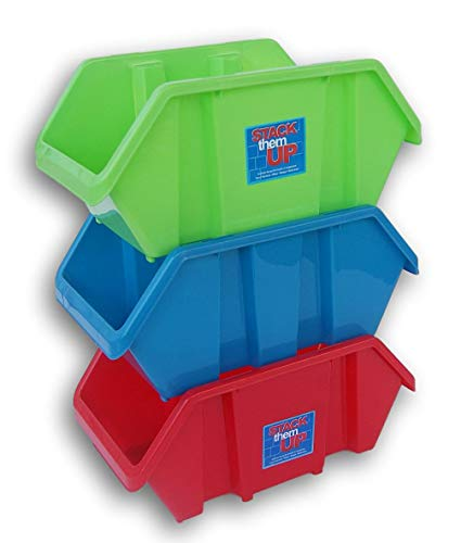 (Storage Solutions Basic Stacking Bins 3-Pack - Red, Green, Blue)