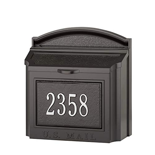 Personalized Wall Mounted Mailbox Package - Whitehall Custom Wall Mount Mailbox Package - House Number and Street Name - Sand Cast Aluminum - Black Personalized in Silvertone