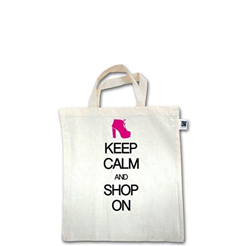 Keep calm - Keep calm and shop on - Unisize - Natural - XT500 - Fairtrade Henkeltasche / Jutebeutel mit kurzen Henkeln aus Bio-Baumwolle