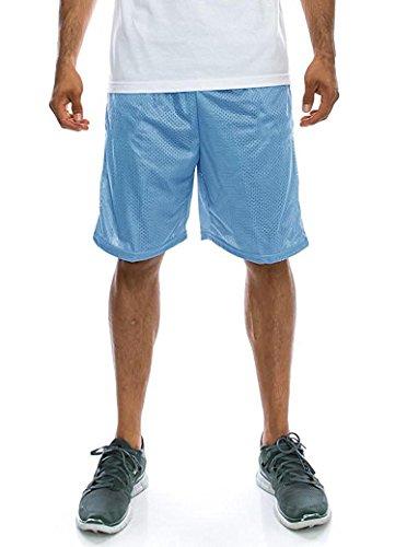 Ma Croix Mens Basic Mesh Shorts with Pockets 1IHA0001 (Large/Sky Blue)