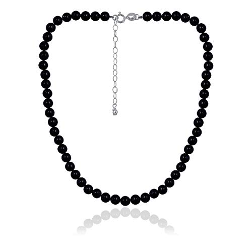Onyx Choker - Sea of Ice Onyx 6mm Round Beads Necklace 14
