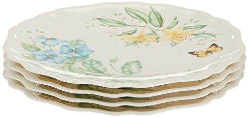 Lenox Butterfly Meadow Melamine Dinner Plates (Set of 4), White (Lenox Porcelain Plates)