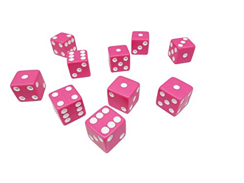 Pink Games (Hobby Monsters 10 Piece Pink 16mm Game Dice with White Pips)