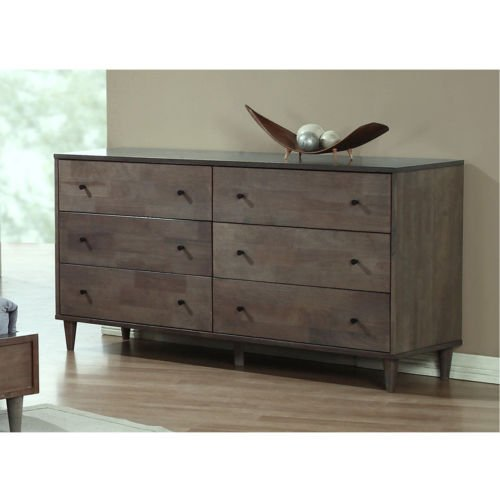 Wood Bedroom Solid Dresser - Vilas Light Charcoal 6-drawer Dresser. This Bedroom Furniture Features A Solid And Durable Wood Construction. Each Drawer Offers Ample Space For All Of Your Clothing Or Other Bedding And Linen. Tie The Decor Of Your Room Together With This Piece.