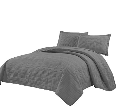 (Fancy Collection 3pc King/California King Oversize Quilted Bedspread Coverlet Set Embroidery Solid Gray New)
