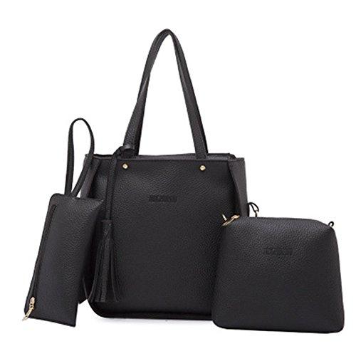 Card Women Tassels 3Pcs Luxury Set Wallet CFPACR Red Crossbody Holder Fashion Bag Handbag HgwtqUIYxn