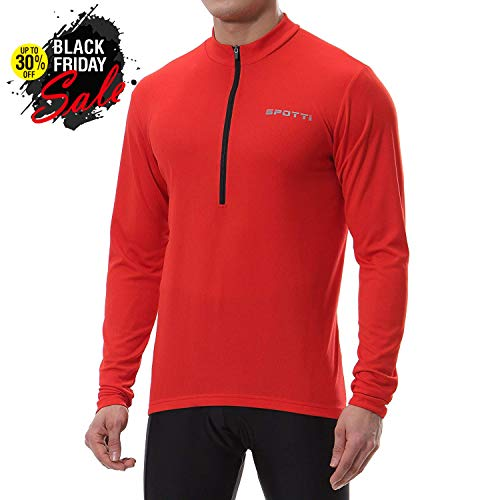 Spotti Mens Long Sleeve Cycling Jersey, Bike Biking Shirt- Breathable and Quick Dry (Chest 42-44 - XL,Red)