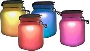Lámpara solar de cristal con luces LED blancas 's y cambio de color