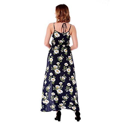 oscuro de corte azul para pantalones bohemio playa estampados de Vestido dividido flores para con largo cortos estilo vacaciones mujer viajes de de 10dwFq
