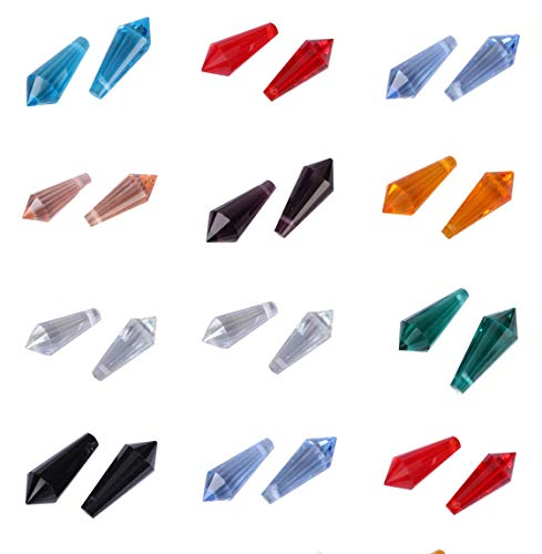 Creative Club Wholesale Mix Lots 100pcs 20mm #8611 Top Drilled Teardrop Pendant/Prism Beads with Container Box (100pcs) CCS15 ()