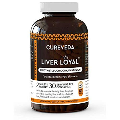 Cureveda Liver Loyal herbal supplement – Milk Thistle (silymarin) For Liver detox, liver support, protection against fatty liver (60 Tabs)