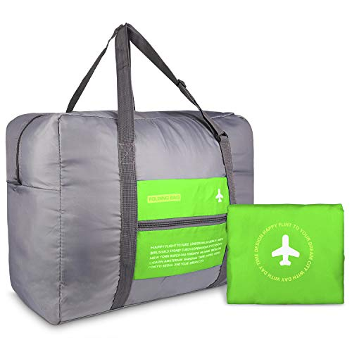 HDWISS Foldable Travel Duffle Bag Tote Carry on Luggage for Spirit Airlines - Green