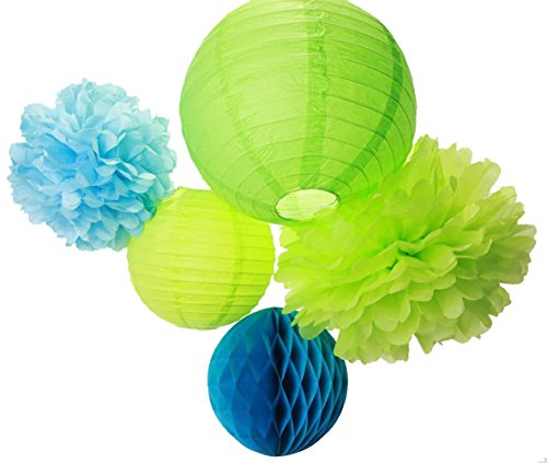 SUNBEAUTY Mixed 8inch/10inch/12inch 5pcs Tissue Paper Pom Poms & Honeycomb Ball & Lantern Green Royal Blue Series Party Wedding Baby Shower Decoration]()