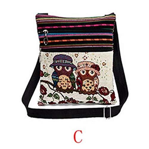 Small Phone Embroidered B Bag Bags Tote Owl Bag Women Shoulder C Sling Zipper BpBqXr