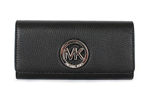Michael Kors Fulton Pebbled Leather Flap Continental Wallet SV/Black