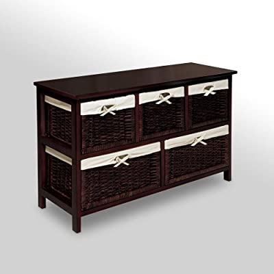 Badger Basket Five Basket Storage Unit with Wicker Baskets | Computers And Accessories