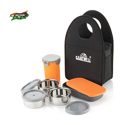 Carewell Royal Fresh 4 Tire Lunch Box (Black- Orange, 1000 ml) Price & Reviews