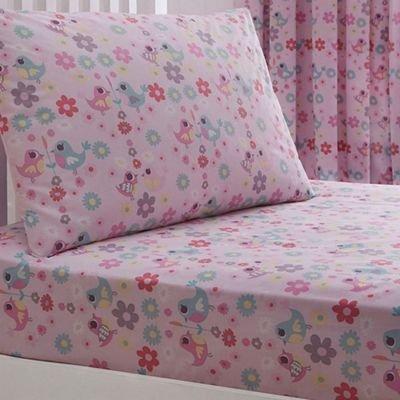 Debenhams Kids' pink 'Little Owl And Friends' fitted sheet and pillow case set