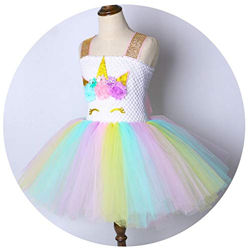 Flower Baby Girl Dress Rainbow Princess Kids Birthday Party Dresses for Girls Christmas Cosplay Costume