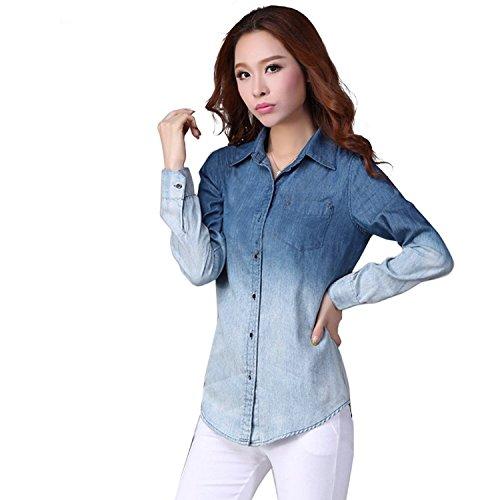Amoin Women's Denim Gradual Jeans Single-Breasted Long Sleeve Shirt Blouse