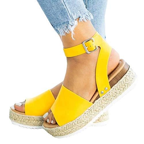(Ymost Womens Wedges Sandal Open Toe Ankle Strap Trendy Espadrille Platform Sandals Flats)