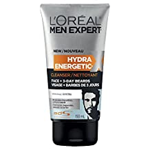 L'Oreal Paris Men Expert Hydra Energetic, Face + 3-Day Beard Cleanser, Foaming Face Wash With Amilite, 150 ML
