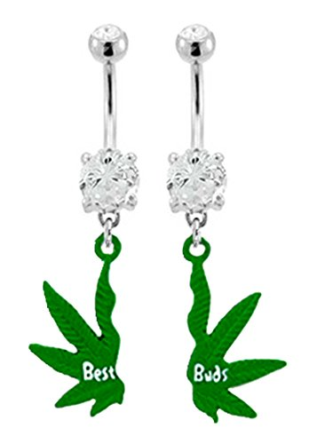 - Best bud's Friend's Pot Leaf Cannibus Marijuana dangle Belly button navel Ring piercing bar body jewelry 14g