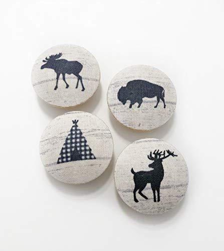 Woodland Animals Fabric Covered Drawer Knob Pulls Set of 4 / Cabinet/Nursery/Wood/Handles/Room Decor/Furniture Accessories/Kid's Room/Moose