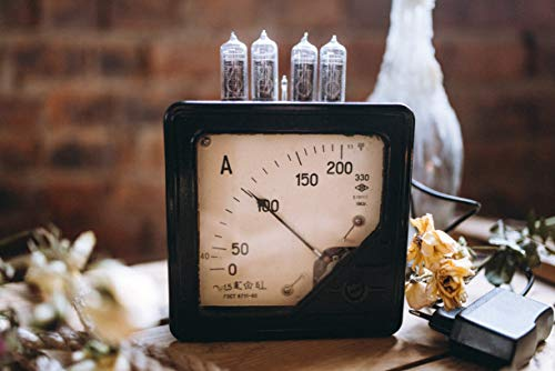 UpCrafts Studio Design Nixie Tube Clock Handmade Steampunk Industrial  Vintage Clocks - kit Alarm led 12/24 Hour Vacuum Bulbs - Black Color USSR  Soviet