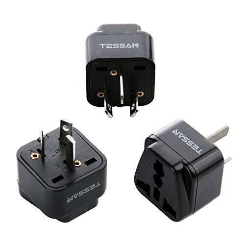 TESSAN Grounded Universal Travel Plug Adapter USA to Australia/China Travel Prong Converter Adapter Plug Kit for Australia/China(Type A) - 3 Pack