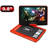 SONADY 9.8'' Portable DVD Players with Swivel Screen Rechargeable Battery AV In Out Supports SD Card and USB, Direct Play in Formats MP4/AVI/RMVB/MP3/JPEG