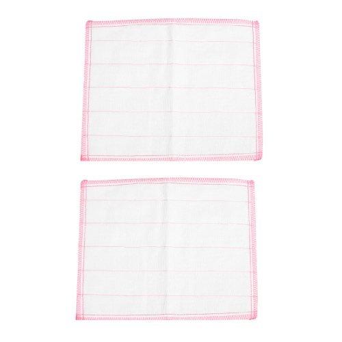 Imprimir rayas trapo de limpieza Toalla Estropajo 2 piezas Rosa Blanco