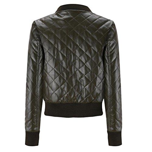 Slim Fashion Blouse Winter Top Green TM Colorful Jacket Overcoat Coat Women Jacket Lapel Leather tZqnaWAW8S