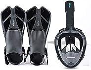 Bluerise Snorkel Set Antifog Adult Full Face Diving Mask with Adjustable Swim Fins Anti-Leak Snorkeling Scuba