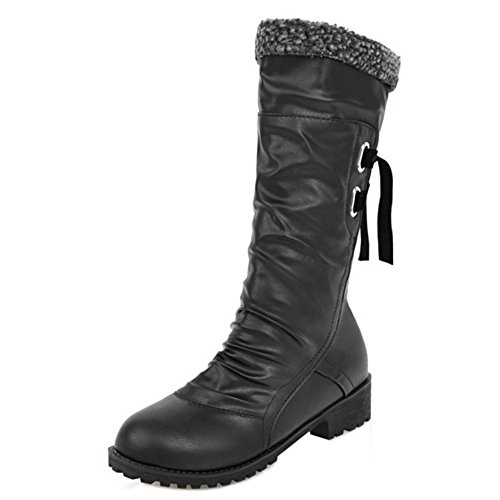 Boots On COOLCEPT Women Pull Black Warm Lined H qzwP4