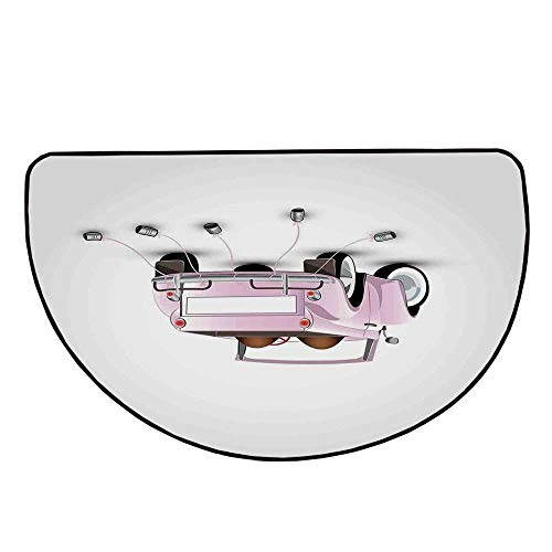 Cars Comfortable Semicircle Mat,Just Married Themed Open Roof