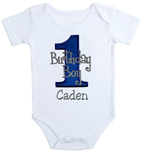 Embroidered First Birthday Year 1 Onesie Bodysuit for Baby Boys with Your Custom Name (Short Sleeve 12 Months, Royal & Gray)