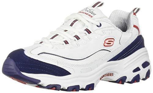 Skechers Women's D'Lites Sneaker, White Navy red, 5 M ()