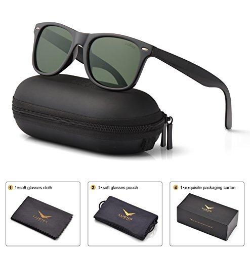 Mens Wayfarer Polarized Sunglasses for Womens UV 400 Protection Grey Green  Lens Matte Black Frame 54MM f024f97e365c