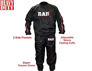 RAD Heavy Duty Sweat Suit Sauna Exercise Gym Suit Fitness Weight Loss Anti-Rip Red (5XL)